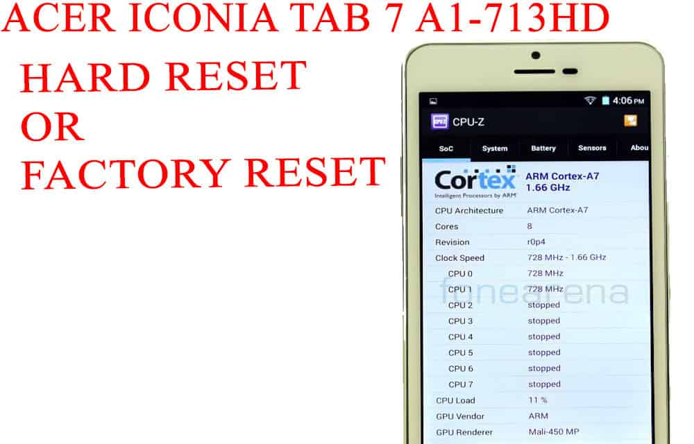 ACER Iconia Tab 7 A1-713HD Hard Reset -ACER Iconia Tab 7 A1-713HD Factory Reset – Unlock Pattern Lock
