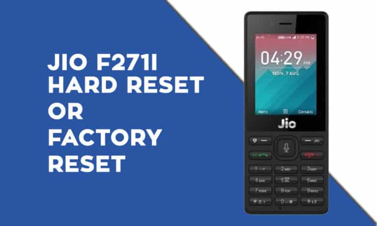 JIO F271i Hard Reset or Factory Reset