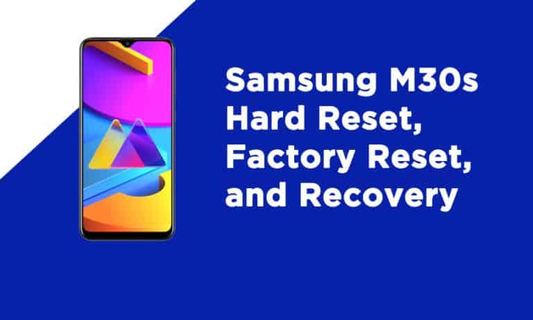 Samsung M30s Factory Reset