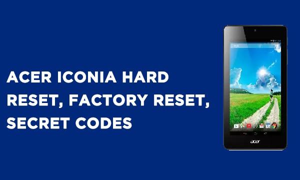 ACER Iconia Hard Reset