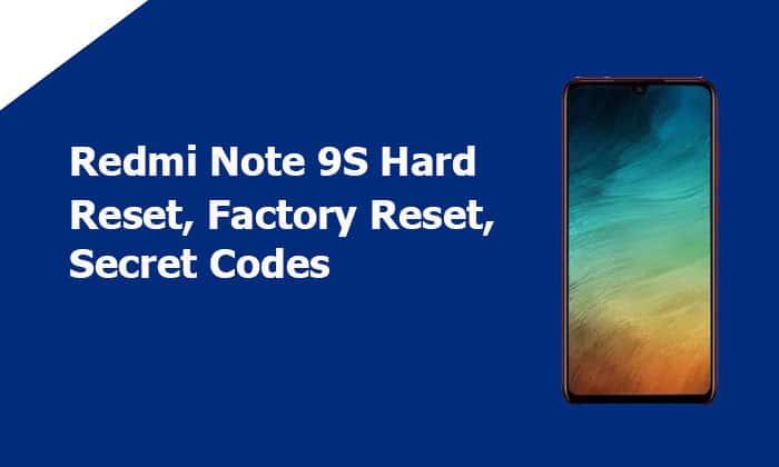 Redmi Note 9S Hard Reset