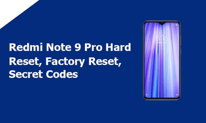 Redmi Note 9 Pro Hard Reset